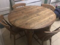 Rustic Pine dining table with 4 chairs