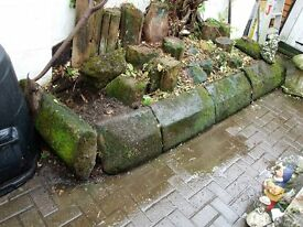 IDEAL FOR OLD COTTAGE GARDEN LARGE HEAVY 100 YEARS OLD GRANITE COPINGSTONES COVER 15 FT