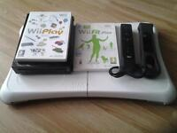 black wii, wii fit board,1 wii + controller and black nunchuck and wii play and wii fit plus £25