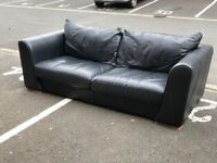 Navy Leather 3 Seater Sofa (@07752751518)