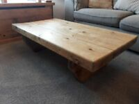Large chunky rustic reclaimed wood coffee table