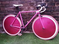 NEW MANGO- Custom PINK FIXIE Bike, 50cm Fr, Sealed Flip Flop Track Wheels