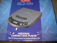 personal portable CD player, brand new unopened in box. Charges batteries, completely portable