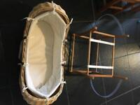 Mothercare Snug Wicker Moses Basket with Wooden Rocking Stand