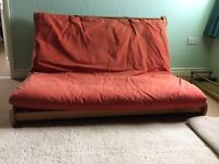 Futon Sofabed - wooden slatted base with Futon cover - Double.