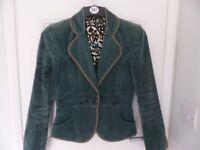 Green Embroidered Velvet Blazer by St Martins - Size S