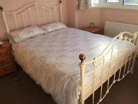 Ivory metal kingsize bed frame