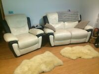 SCS Real Leather fabric black white sofa 2+1 seater plus free gift worth 80£ sheep rugs