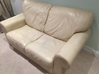 Cream 2-seater leather sofa - FREE (pickup only)
