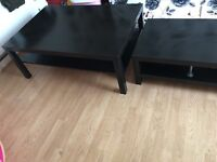 chocolate brown tv stand and coffe table