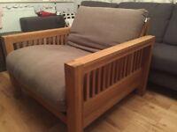 Solid oak 'Oke' single sofa bed/futon, armchair by Futon company, top of the range