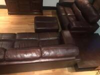 3 + 2 Brown Leather Suite plus Footstool