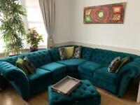 Teal blue velvet chesterfield brand new and custom made