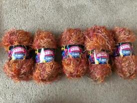 Orange & pink eyelash yarn/ wool 500 grams brand new