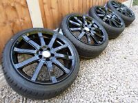 "17"" WOLFRACE ALLOY WHEELS & TYRES *REFURBERD* GLOSS BLACK 5x100 vw audi seat ect"