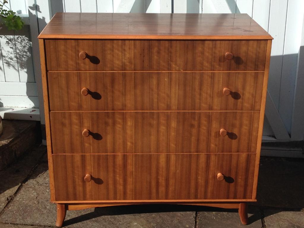 VINTAGE RETRO MID CENTURY GORDON RUSSELL OF BROADWAY HEALS STYLE SATINWOOD CHEST 4 DRAWERS TALLBOY