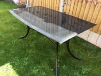 "Outdoor garden table, black glass, 4ft 10"" x 3ft:"