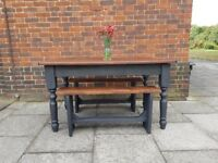 Rustic farmhouse dining table with drawer + 2 new benches. Charcoal shabby chic. LOCAL DELIVERY