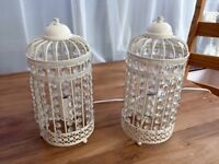 Pair of Ornate Cream Metal Framed Birdcage Table Lamp with Jewel Droplets Light Shade by Mini Sun