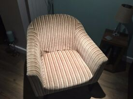 BROWN AND BEIGE STRIPE, VELOUR BUCKET CHAIR, SELLING ASAP