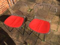 PAIR OF HARRY BERTOIA CHROME WIRE SIDE CHAIRS