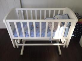 Mothercare Swinging Crib White with mattress, pads and bedding set