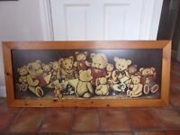 Large Teddy Bear Picture in Wooden Frame