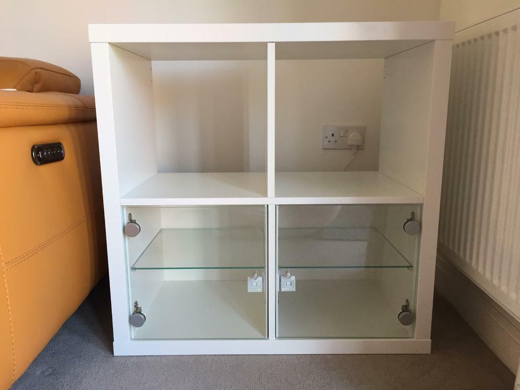 kallax unit with glass door inserts in witney oxfordshire gumtree. Black Bedroom Furniture Sets. Home Design Ideas