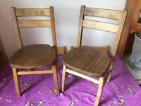 Pair vintage wooden kids school chairs
