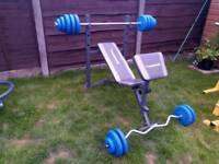 Weight bench and weights 54kg