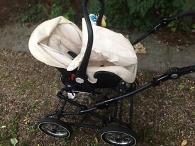 Babystyle prestige cream leather travel system 2 months in use