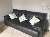 3 Seater Sofa. Leather feel Sofa Dark brown w/ contrast stitch and chrome feet (Endurance Infinity)