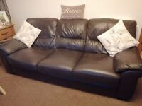 3 seater brown leather sofa 2 manual recliner Charis