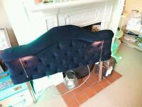 Beautiful headboard and glass coffee table