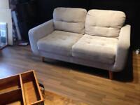 2 danish style sofas settee