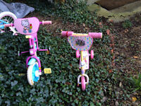 One bicycle and one scooter for 2-3 y.o. girl