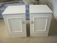 MODERN MATCHING PAIR WHITE BEDSIDE CABINETS. ORNATE FRONTS. SHELF INSIDE. VIEW/DELIVERY AVAILABLE