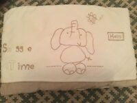 Cot bumper, velour feel with cute elephant design, great condition