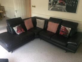 Corner leather settee
