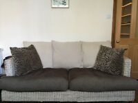 Wicker rattan large conservatory sofa with cushion seat, backrest and scatters