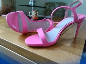 Pink patent high heeled sandals