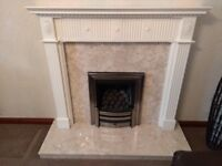 Marbel Fire Place and White Surround