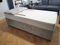 Grey crushed velvet trundle bed and headboard