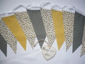 3m Pretty Grey & Mustard Fabric Bunting Great for weddings or Home Decor Price from £4.75