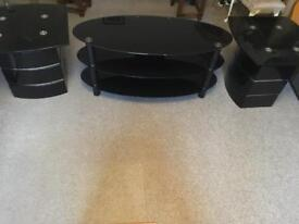 3 Piece Set of Glass Main Table and Side Tables