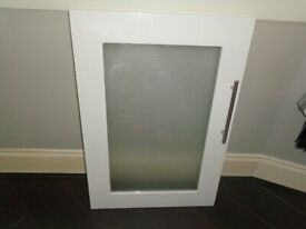 White Gloss Kitchen Unit Door with Glass Centre = 500mm w