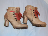 "MUSTANG ANKLE BOOTS – In Box - Beige 'Worn' Look – Size 6 – 3"" Heels"