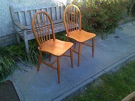 Original Pair of Ercol Stickback Kitchen Chairs 1960s