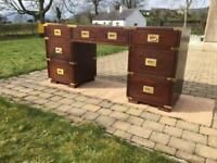 Mahogany campaign style dressing table / desk