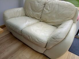 Two seater leather sofa, for collection.